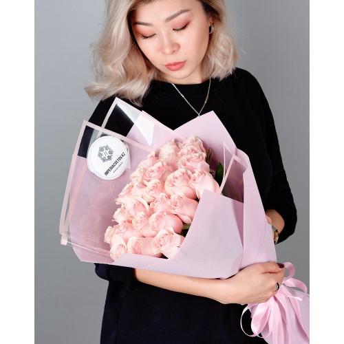 Купить на заказ Заказать Букет из 25 розовых роз с доставкой по Таразу  с доставкой в Таразе