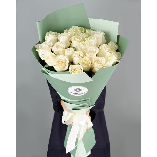 Купить на заказ Заказать Букет из 25 белых роз с доставкой по Таразу  с доставкой в Таразе
