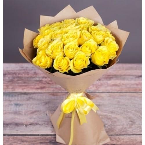 Купить на заказ Букет из желтых роз с доставкой в Таразе
