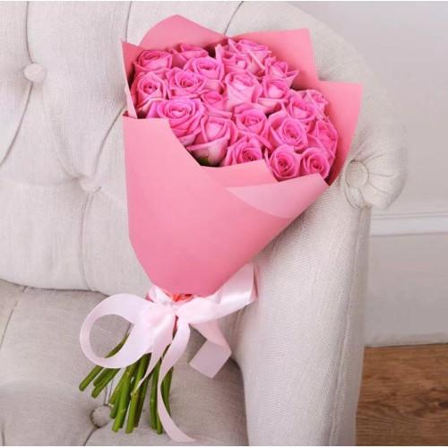 Купить на заказ Заказать Букет из 21 розовой розы с доставкой по Таразу  с доставкой в Таразе